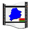 Film shots with national map of Belarus