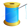 Vector clipart: Spool of blue thread with needle
