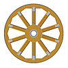 Vector clipart: wooden wheel