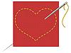Vector clipart: the heart, needle and thread