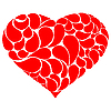 Vector clipart: Red heart with drops