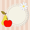 Vector clipart: lace napkin, apple, pear and chamomile