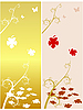 Vector clipart: Autumn motive with maple leaves.