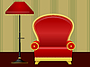 Vector clipart: red chair and floor lamp