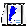 Vector clipart: Film shots with national map of Argentina