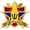 gold star to the flag of Barbados t