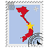 stamp with the image maps of Vietnam