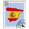 stamp with the image maps of Spain