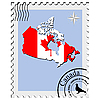 stamp with the image maps of Canada