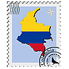 stamp with the image maps of Colombia