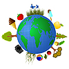 Vector clipart: Globe with elements of summer food.