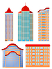 Vector clipart: Collection of of apartment buildings