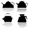 Vector clipart: Set of silhouettes of teapots