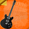 Vector clipart: retro background with electric guitar