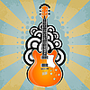 Vector clipart: retro background with electric guitar and rays
