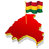 Vector clipart: map of Bolivia with the national flag