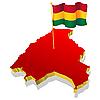 Landkarte von Bolivien mit der Nationalflagge