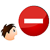 Vector clipart: Sign ban showing the boy`s face