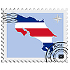 печать с изображением карты Коста-Рики