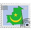 Vector clipart: stamp with the image maps of Mauritania