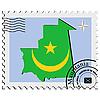 Векторный клипарт: печать с изображением карты Мавритании
