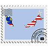 Векторный клипарт: печать с изображением карты Малайзии