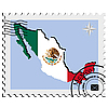 Vector clipart: stamp with the image maps of Mexico