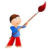 Векторный клипарт: Маленький мальчик с большой кистью