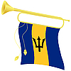 Vector clipart: bugle with flag Barbados