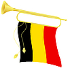Vector clipart: bugle with flag Belgium