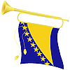 Vector clipart: bugle with flag Bosnia and Herzegovina