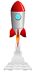 Vector clipart: the rocket taking off