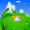 Vector clipart: cow in an alpine meadow