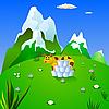 Векторный клипарт: Корова на альпийском лугу