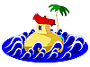 Vector clipart: islands in the ocean with palm trees and
