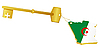Vector clipart: Golden key and key fob Algeria