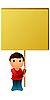 Vector clipart: The boy with the message board
