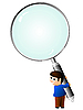 Vector clipart: boy with magnifying glass.