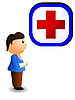 Vector clipart: boy with an injured hand