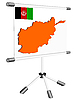 Vector clipart: display with silhouette map of Afghanistan