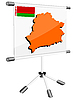 Vector clipart: display with silhouette map of Belorussia