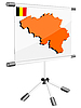 Vector clipart: display with silhouette map of Belgium