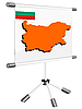 Vector clipart: display with silhouette map of Bulgaria