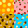 Vector clipart: Collection of seamless textures of food