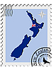 Vector clipart: stamp with the image maps of New Zealand