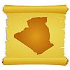 Pergament mit Silhouette von Algerien