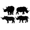 Vector clipart: Collection of images of rhino