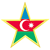 Gold star with flag of Azerbaijan