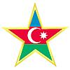 Vector clipart: Gold star with flag of Azerbaijan