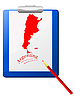 Vector clipart: the clipboard with map of Argentina